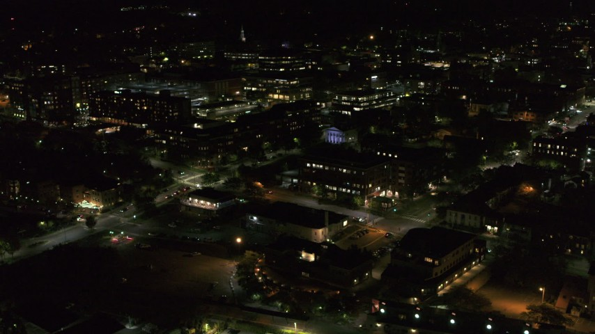 5.7K stock footage aerial video orbit the downtown area near Battery Street at night, Burlington, Vermont Aerial Stock Footage | DX0002_226_063