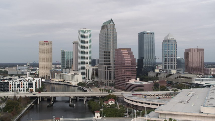 5.7K stock footage aerial video orbit tall skyscrapers in Downtown Tampa, Florida Aerial Stock Footage | DX0003_229_002