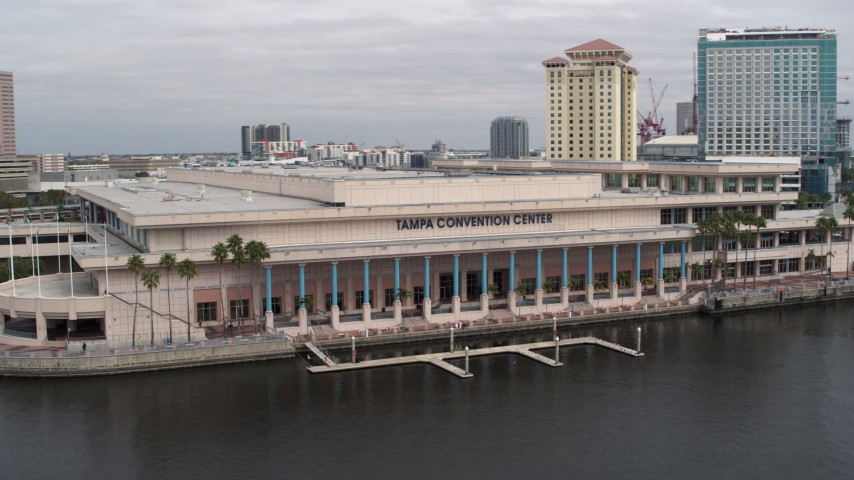 5.7K stock footage aerial video of orbiting the Tampa Convention Center, Downtown Tampa, Florida Aerial Stock Footage | DX0003_229_009
