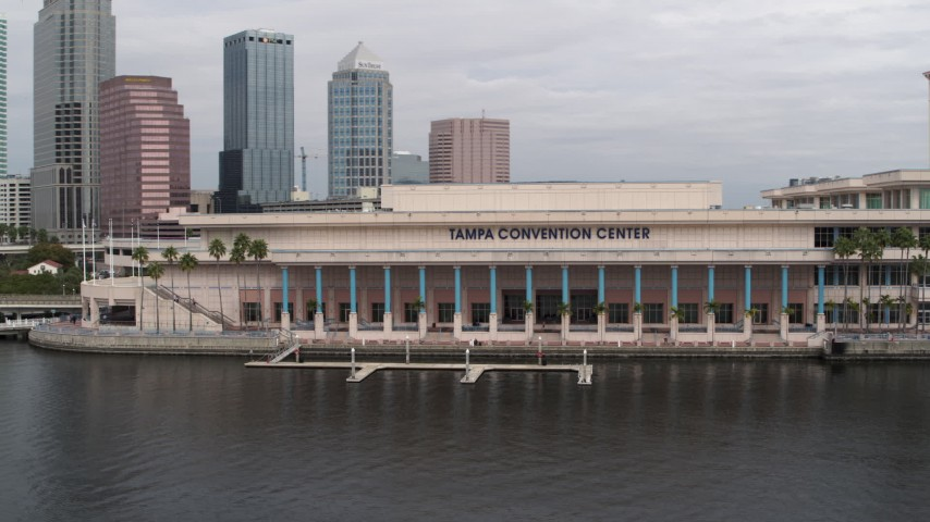 5.7K stock footage aerial video a low orbit of the Tampa Convention Center, Downtown Tampa, Florida Aerial Stock Footage | DX0003_229_010