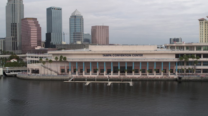 5.7K stock footage aerial video circling the Tampa Convention Center, Downtown Tampa, Florida Aerial Stock Footage | DX0003_229_011