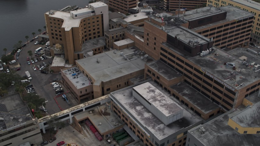 5.7K stock footage aerial video orbit part of the hospital complex in Tampa, Florida Aerial Stock Footage | DX0003_229_022