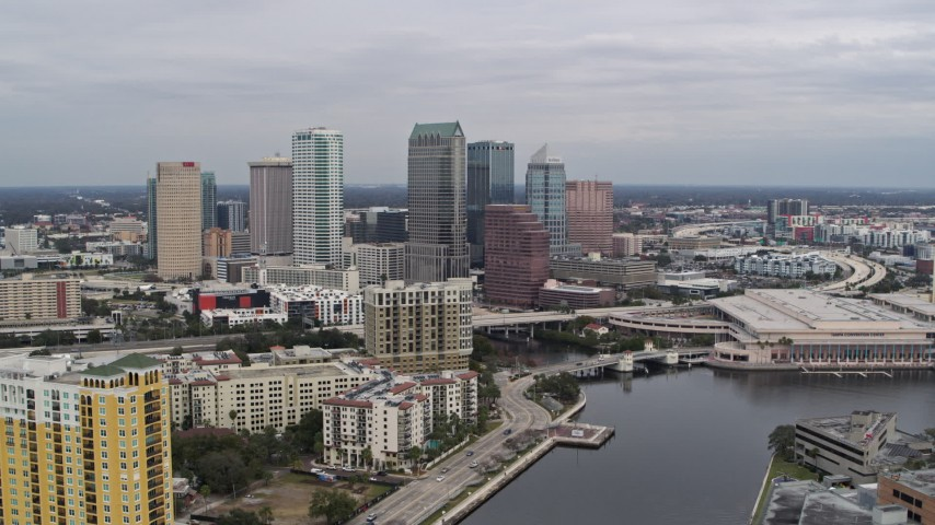 5.7K stock footage aerial video stationary view of skyline from a channel, Downtown Tampa, Florida Aerial Stock Footage | DX0003_229_034