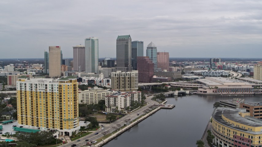 5.7K stock footage aerial video the city skyline seen from condo complex, Downtown Tampa, Florida Aerial Stock Footage | DX0003_229_035
