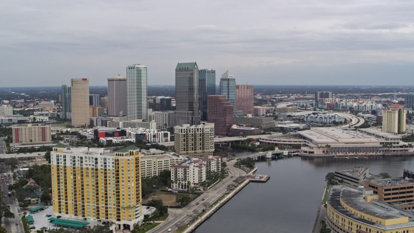 5.7K stock footage aerial video reverse view of the city skyline, Downtown Tampa, Florida Aerial Stock Footage | DX0003_229_040