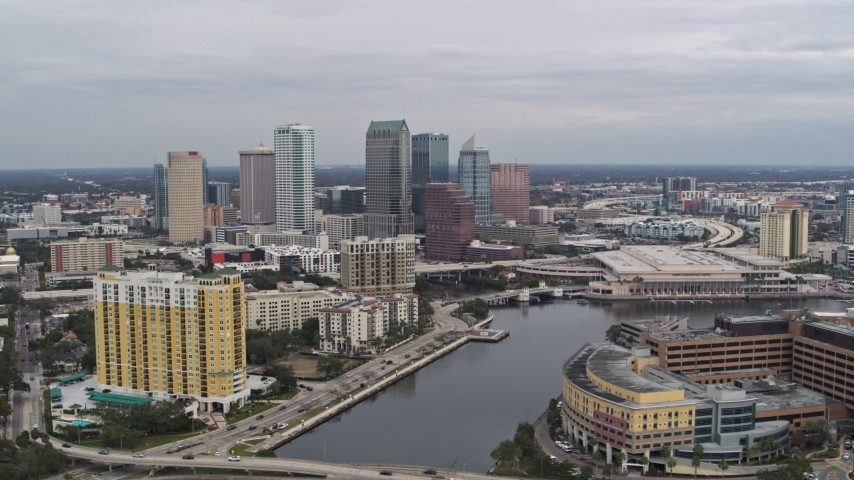 5.7K stock footage aerial video of flying by the city skyline, seen from the hospital, Downtown Tampa, Florida Aerial Stock Footage | DX0003_229_041