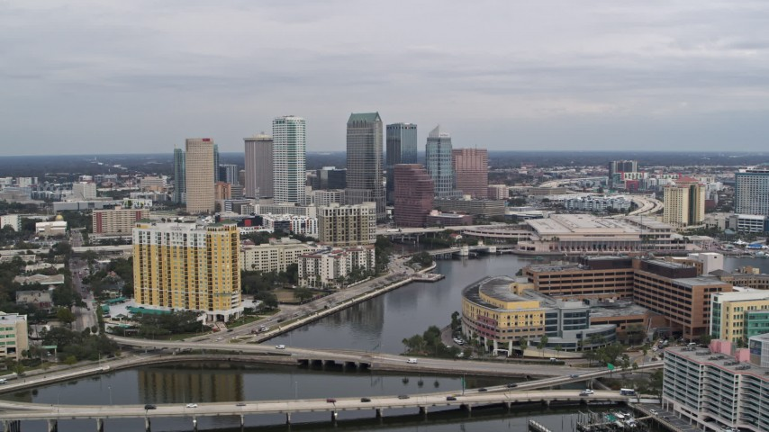 5.7K stock footage aerial video of flying by the hospital while focused on skyline, Downtown Tampa, Florida Aerial Stock Footage | DX0003_229_042