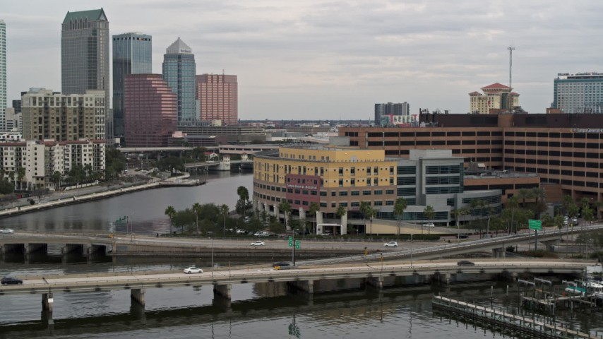 5.7K stock footage aerial video orbit a waterfront hospital in Tampa, Florida Aerial Stock Footage | DX0003_230_002