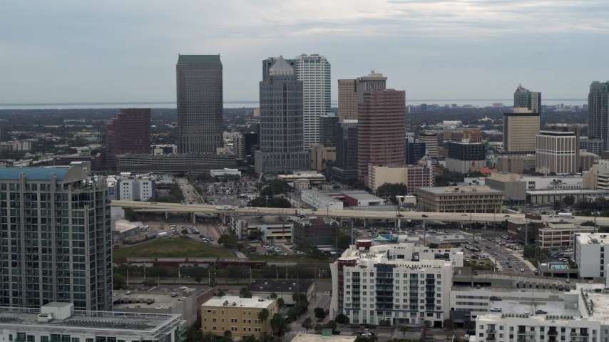 5.7K stock footage aerial video of passing by skyscrapers in the downtown skyline, Downtown Tampa, Florida Aerial Stock Footage | DX0003_230_025