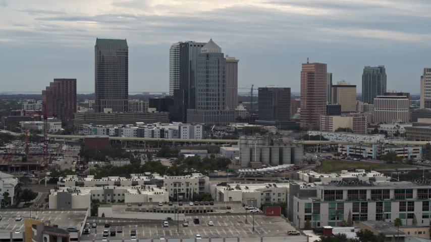 5.7K stock footage aerial video approach and flyby skyline, Downtown Tampa, Florida Aerial Stock Footage | DX0003_230_028