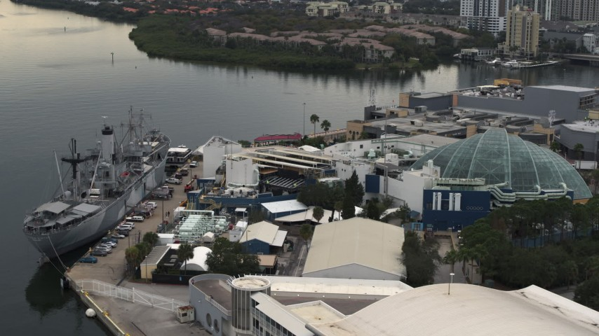 5.7K stock footage aerial video approach warship museum and aquarium in Tampa, Florida Aerial Stock Footage | DX0003_230_029