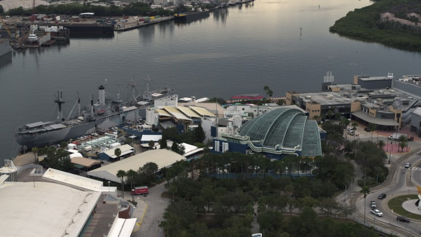 5.7K stock footage aerial video of orbiting a warship museum and aquarium in Tampa, Florida Aerial Stock Footage | DX0003_230_032