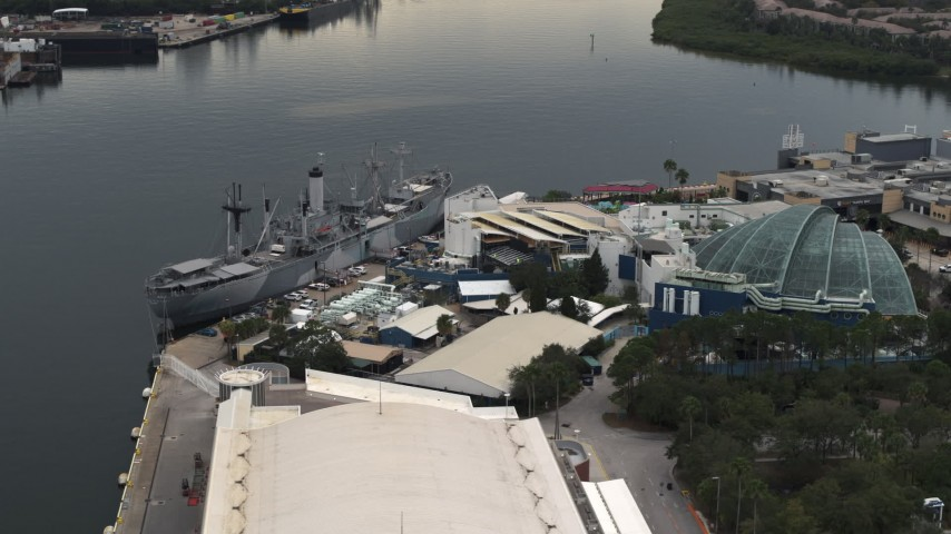 5.7K stock footage aerial video of circling a warship museum and aquarium in Tampa, Florida Aerial Stock Footage | DX0003_230_033