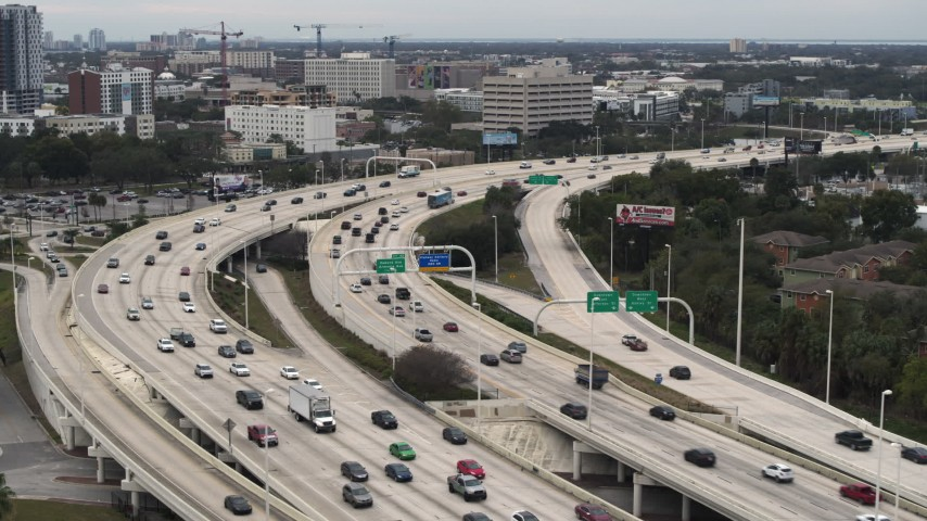 5.7K stock footage aerial video of heavy freeway traffic in Tampa, Florida Aerial Stock Footage | DX0003_230_036