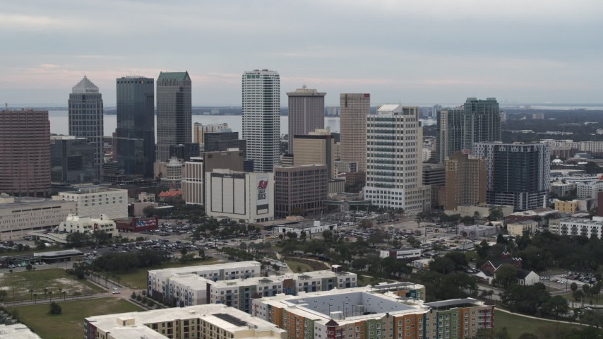 5.7K stock footage aerial video slowly flying by the city's skyline, Downtown Tampa, Florida Aerial Stock Footage | DX0003_230_038