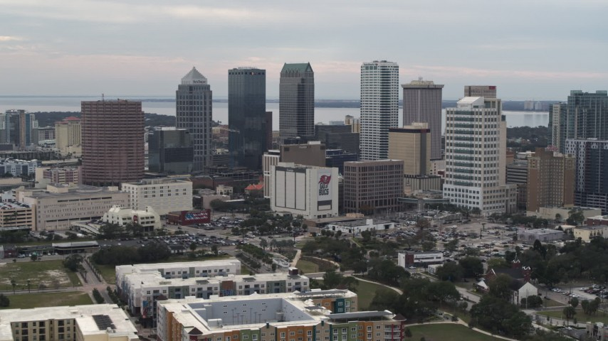 5.7K stock footage aerial video slowly passing by the city's skyline, Downtown Tampa, Florida Aerial Stock Footage | DX0003_230_039