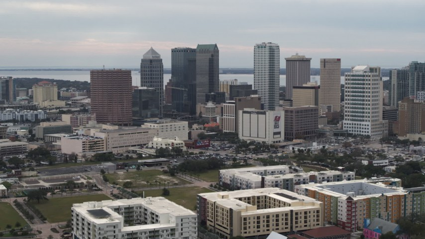 5.7K stock footage aerial video of a view of skyscrapers in the city's skyline, Downtown Tampa, Florida Aerial Stock Footage | DX0003_230_040
