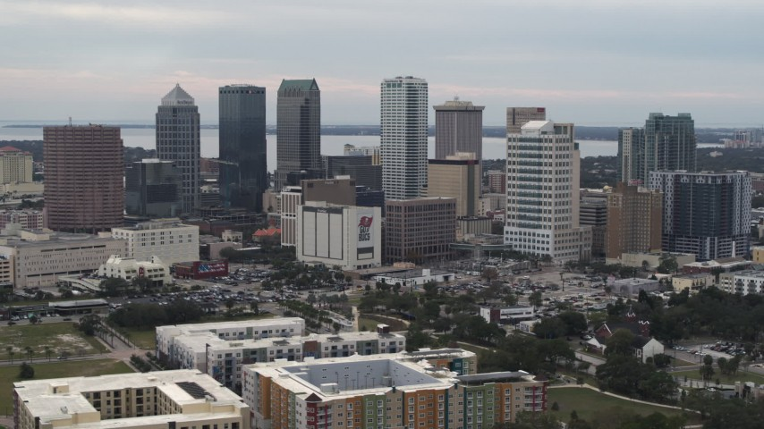 5.7K stock footage aerial video of a view of tall skyscrapers in the city's skyline, Downtown Tampa, Florida Aerial Stock Footage | DX0003_230_041