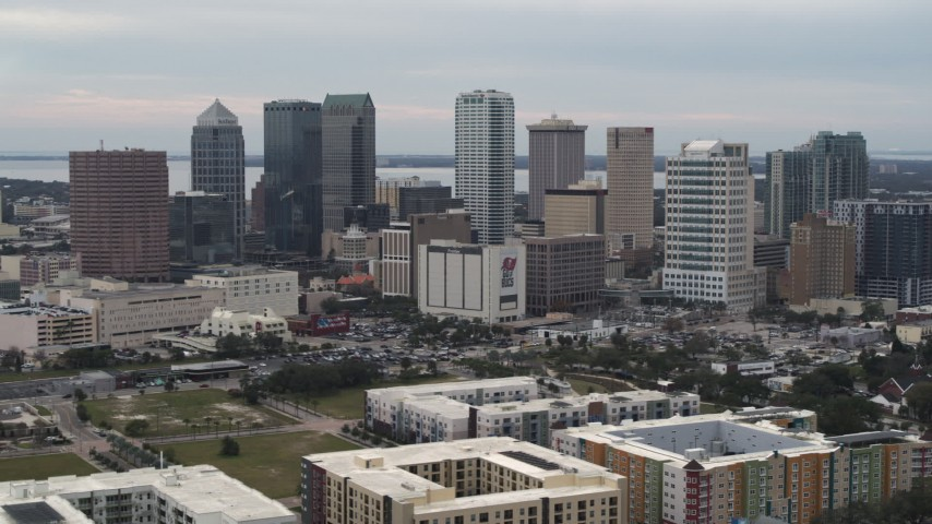5.7K stock footage aerial video of passing tall skyscrapers in the city's skyline, Downtown Tampa, Florida Aerial Stock Footage | DX0003_230_042