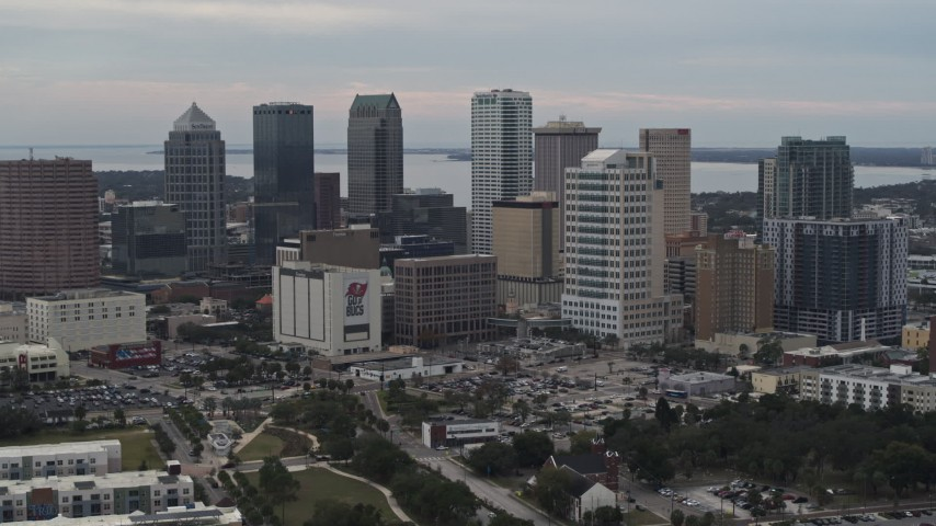 5.7K stock footage aerial video a stationary view of tall skyscrapers in the city's skyline, Downtown Tampa, Florida Aerial Stock Footage | DX0003_230_045
