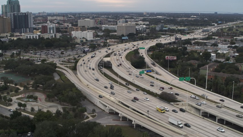 5.7K stock footage aerial video a stationary view of freeway traffic in Tampa, Florida Aerial Stock Footage | DX0003_231_002