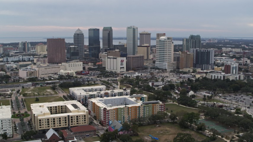 5.7K stock footage aerial video a wide view of passing skyscrapers in the city's skyline, Downtown Tampa, Florida Aerial Stock Footage | DX0003_231_011