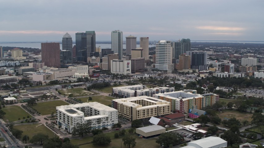 5.7K stock footage aerial video a wide view passing skyscrapers in the city's skyline, Downtown Tampa, Florida Aerial Stock Footage | DX0003_231_012