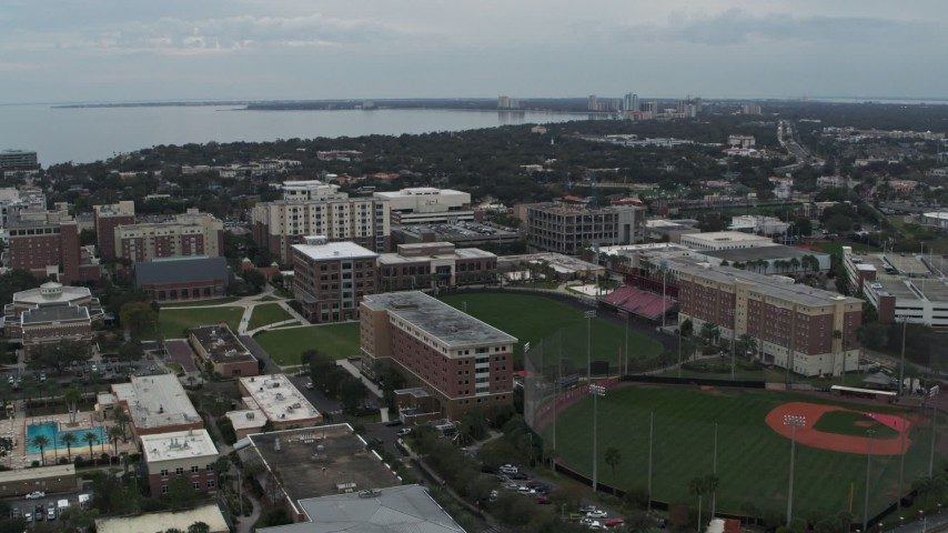 5.7K stock footage aerial video of approaching the University of Tampa campus, Florida Aerial Stock Footage | DX0003_231_021