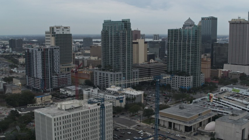 5.7K stock footage aerial video orbit high-rises in Downtown Tampa, Florida Aerial Stock Footage | DX0003_231_034