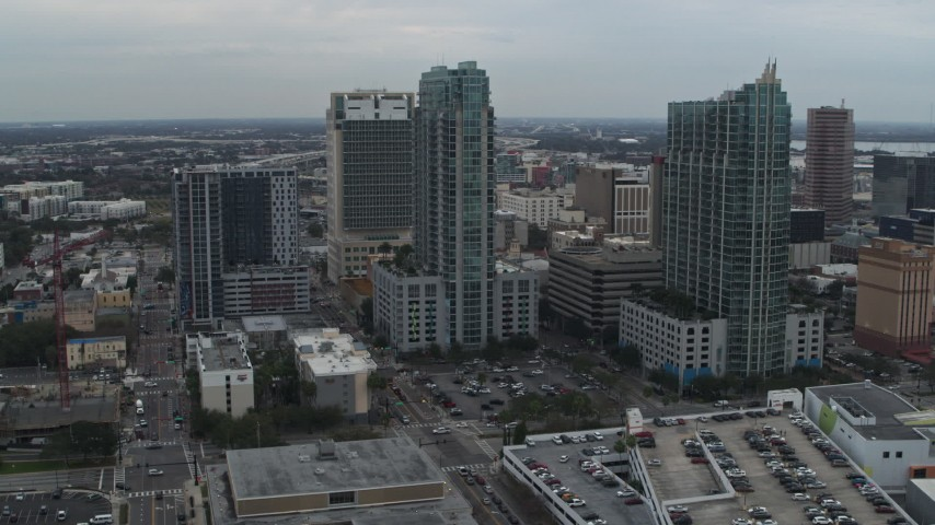 5.7K stock footage aerial video a pair of high-rise buildings in Downtown Tampa, Florida Aerial Stock Footage | DX0003_231_035