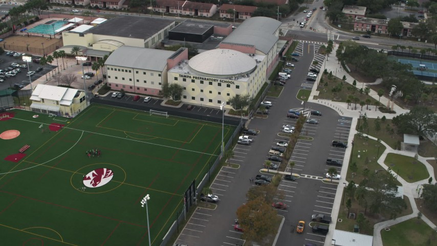 5.7K stock footage aerial video of the Tampa Preparatory School campus, Tampa, Florida Aerial Stock Footage | DX0003_231_037