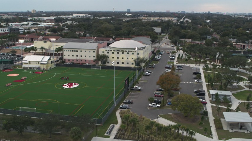 5.7K stock footage aerial video of orbiting the Tampa Preparatory School campus, Tampa, Florida Aerial Stock Footage | DX0003_231_038