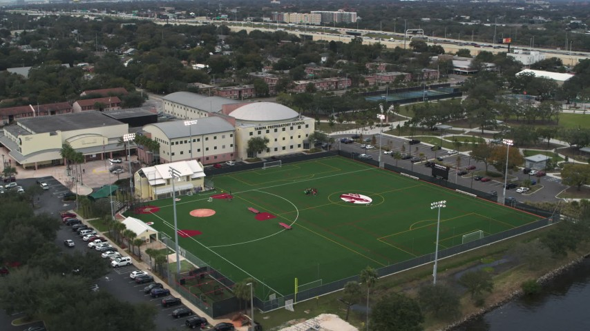 5.7K stock footage aerial video ascend and orbit the Tampa Preparatory School campus, Tampa, Florida Aerial Stock Footage | DX0003_231_039