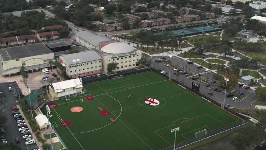 5.7K stock footage aerial video approach and orbit the Tampa Preparatory School campus, Tampa, Florida Aerial Stock Footage | DX0003_231_040
