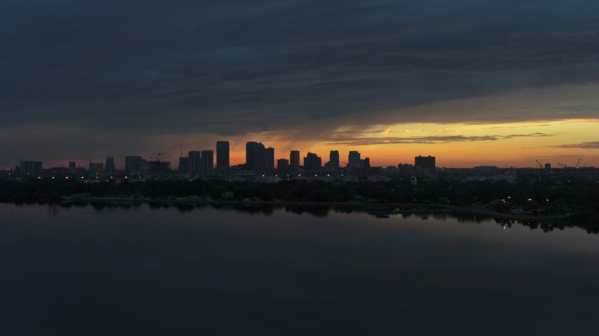 5.7K stock footage aerial video of the Downtown Tampa skyline, Florida at sunset Aerial Stock Footage | DX0003_231_045