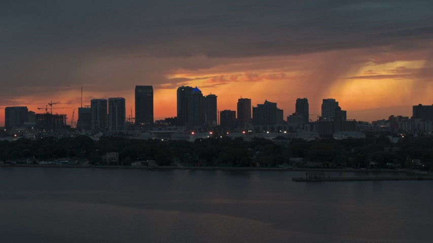 5.7K stock footage aerial video slowly flyby Downtown Tampa skyline at twilight, Florida Aerial Stock Footage | DX0003_232_001