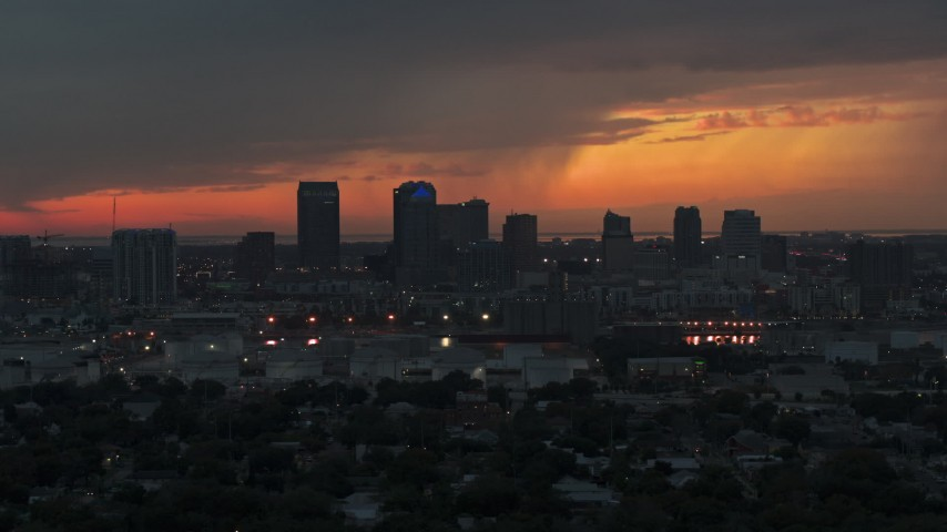 5.7K stock footage aerial video slowly flying away from the Downtown Tampa skyline at twilight, Florida Aerial Stock Footage | DX0003_232_003