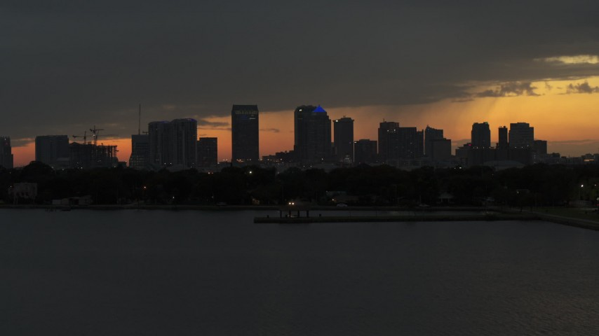 5.7K stock footage aerial video a view of skyscrapers in the Downtown Tampa skyline at twilight, Florida Aerial Stock Footage | DX0003_232_016