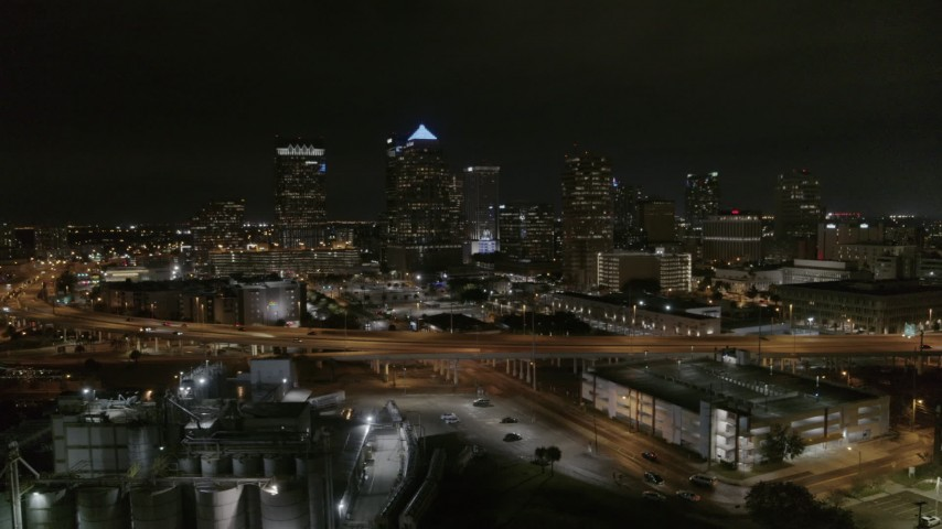 5.7K stock footage aerial video of skyscrapers at night in Downtown Tampa, Florida Aerial Stock Footage | DX0003_232_024