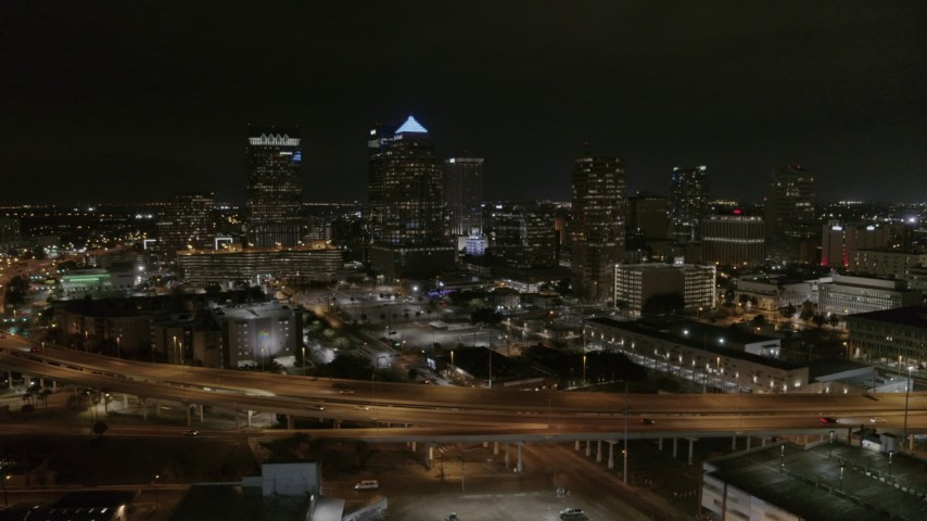 5.7K stock footage aerial video of orbiting skyscrapers at night in Downtown Tampa, Florida Aerial Stock Footage | DX0003_232_025