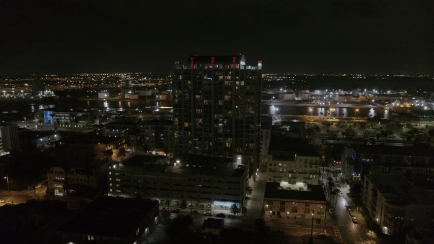 5.7K stock footage aerial video of orbiting apartment building at nighttime in Downtown Tampa, Florida Aerial Stock Footage | DX0003_232_038