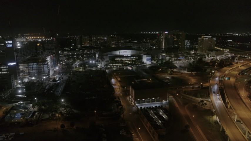 5.7K stock footage aerial video of an orbit of Amalie Arena at night in Downtown Tampa, Florida Aerial Stock Footage | DX0003_232_041