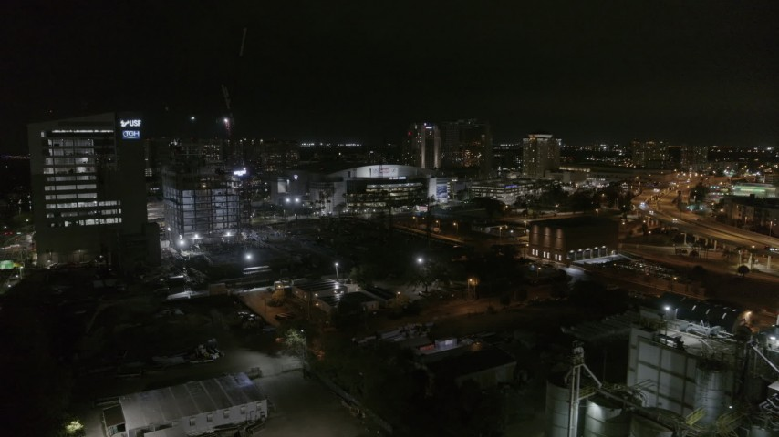 5.7K stock footage aerial video orbit and approach Amalie Arena at night in Downtown Tampa, Florida Aerial Stock Footage | DX0003_232_042