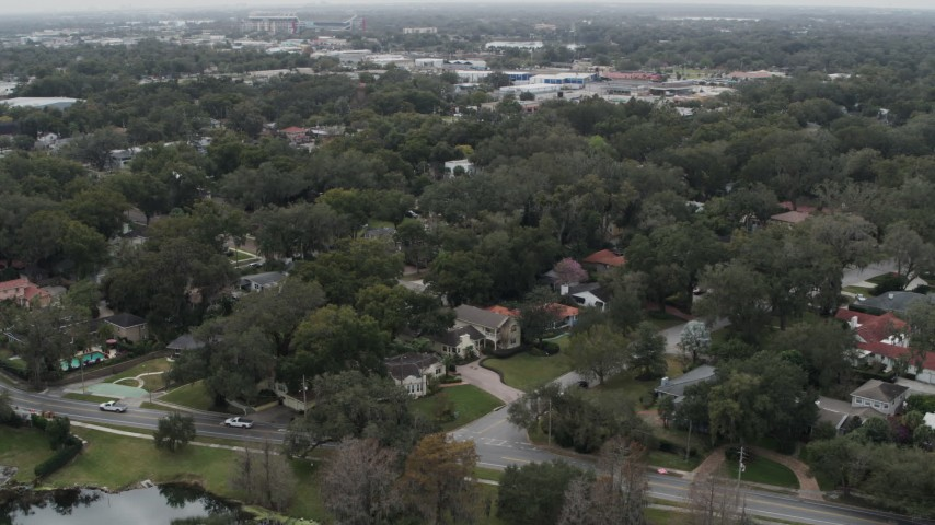 5.7K stock footage aerial video of orbiting suburban homes in Orlando, Florida Aerial Stock Footage   DX0003_233_015