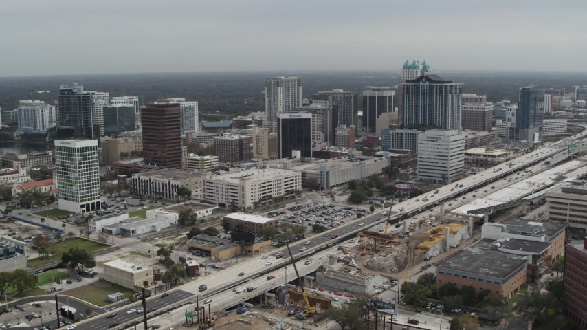 5.7K stock footage aerial video slowly fly away from the city's skyline, Downtown Orlando, Florida Aerial Stock Footage   DX0003_233_035