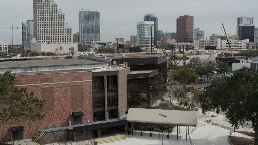 5.7K stock footage aerial video a view of the side of the Bob Carr Theater in Orlando, Florida Aerial Stock Footage | DX0003_233_040