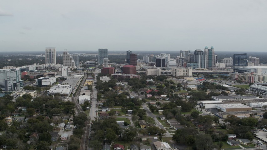 5.7K stock footage aerial video a stationary view of the city's skyline, Downtown Orlando, Florida Aerial Stock Footage   DX0003_233_050
