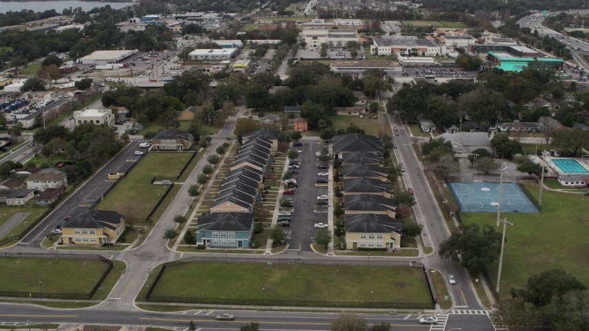 5.7K stock footage aerial video approach an apartment complex in Orlando, Florida Aerial Stock Footage | DX0003_234_009
