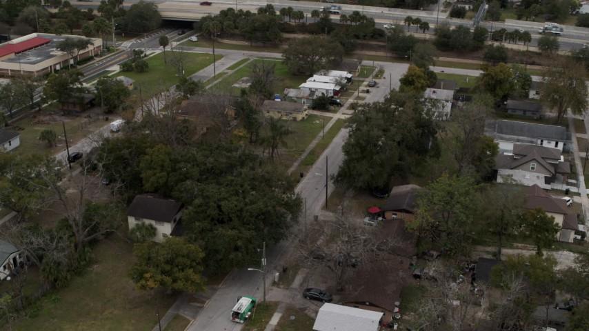 5.7K stock footage aerial video of circling an urban neighborhood in Orlando, Florida Aerial Stock Footage | DX0003_234_015