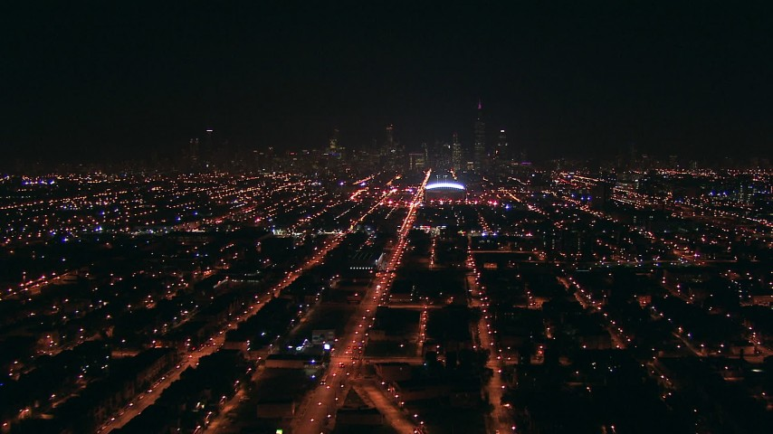 HD stock footage aerial video approach Downtown Chicago, Illinois skyline from West Side at night Aerial Stock Footage | ED0001_000005